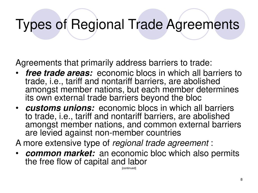the freer trade agreements in the methods of the regional trade agreements