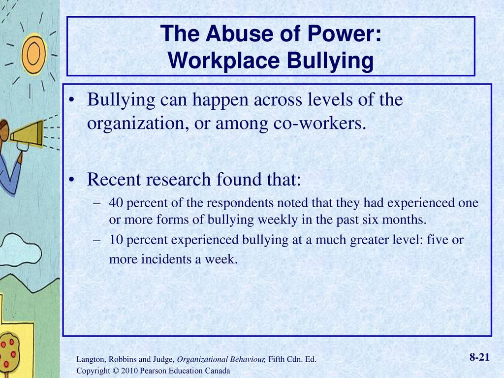 workplace bullying and power distance Workplace bullying is a persistent pattern of mistreatment from others in the  workplace that  workplace bullying may contribute to organizational power  and control  three broad dimensions have been mentioned in relation to  workplace bullying: power distance masculinity versus femininity and  individualism versus.