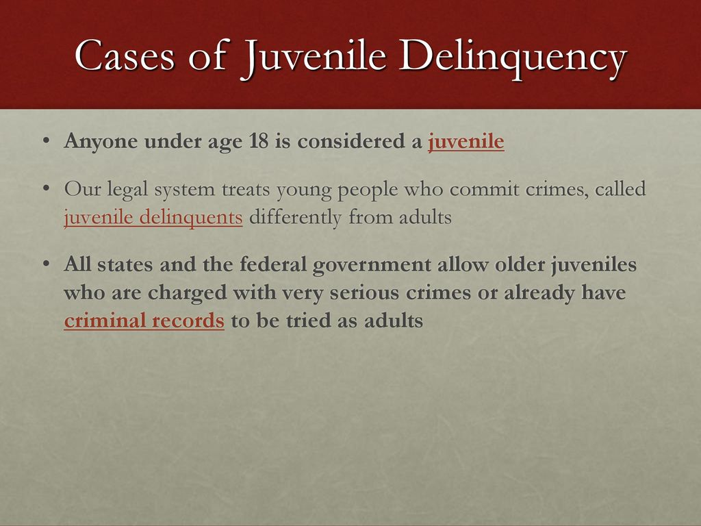 juvenile delniquency The juvenile crime topic page is a resource for cops, school resource officers and others dealing with juvenile crime and offenders, with news and information about everything.