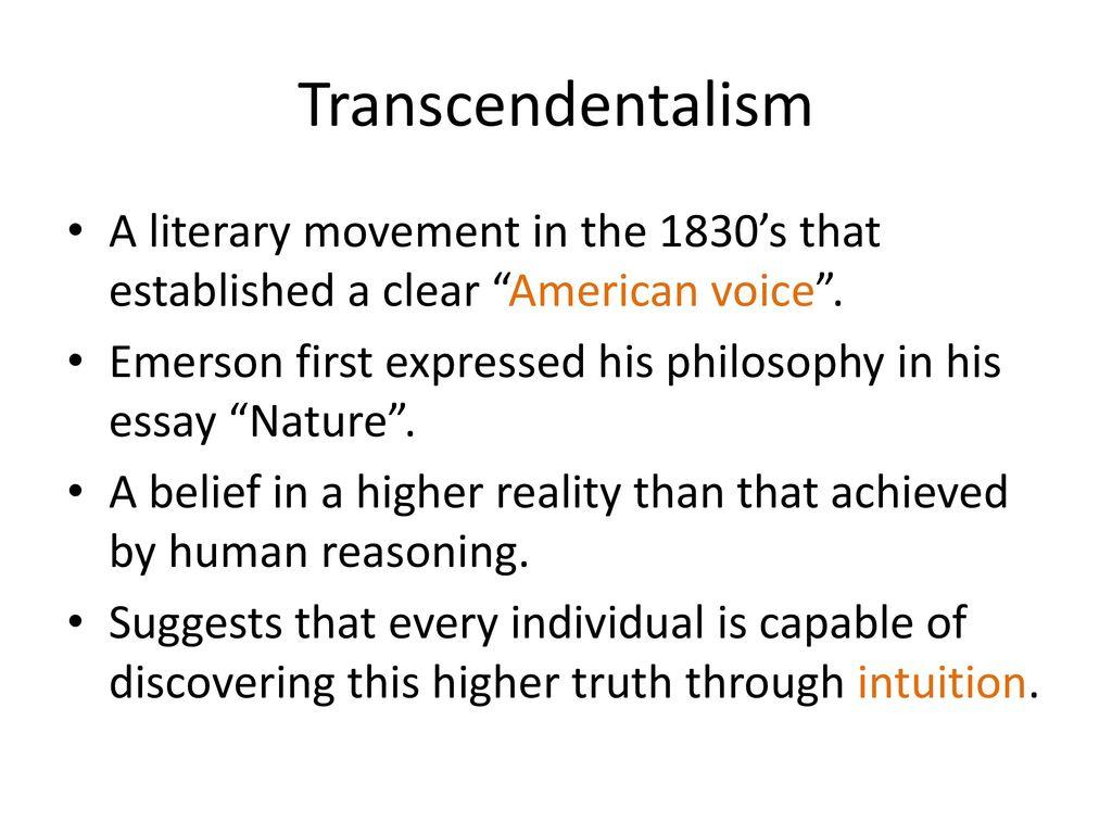 american transcendentalism ppt video online  2 transcendentalism