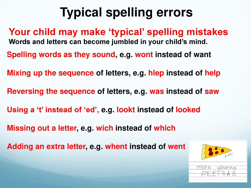 Spelling Errors Mixing  Letters