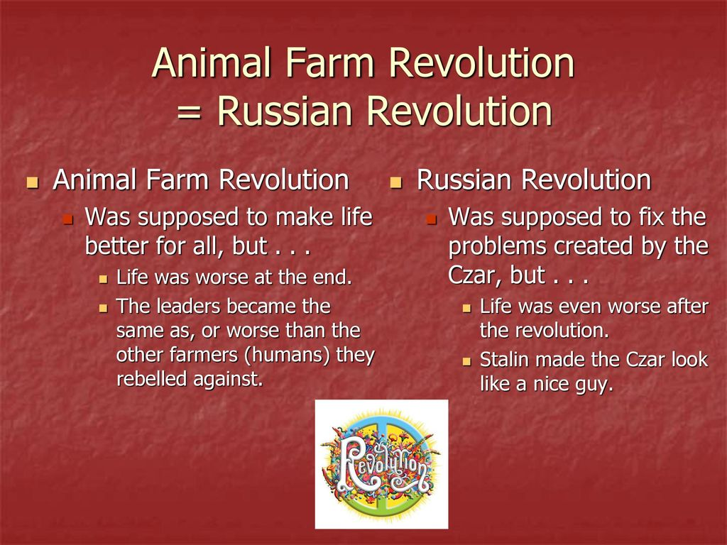 a comparison of george orwells animal farm and the russian revolution