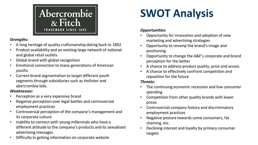 swot analysis for abercrombie and fitch Synopsis icd research's abercrombie & fitch co: company profile and swot analysis contains in depth information and data about the company and its operations.