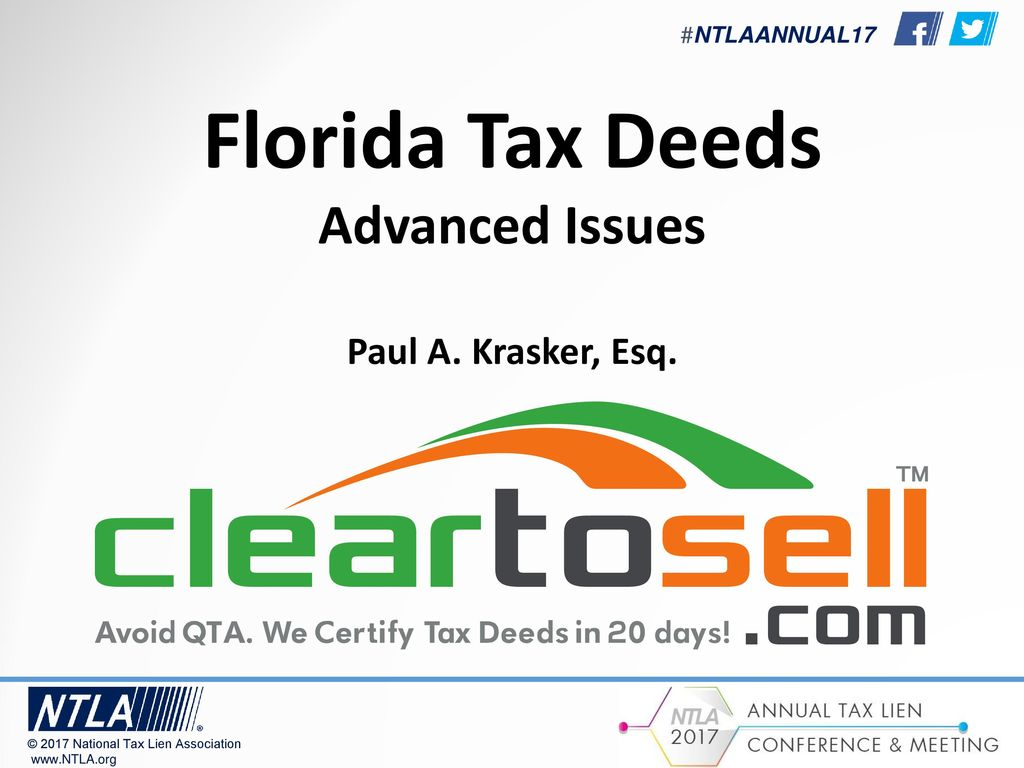 Florida Tax Deeds Advanced Issues Paul A Krasker Esq