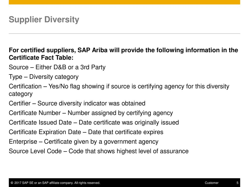 Supplier diversity ppt download supplier diversity for certified suppliers sap ariba will provide the following information in the certificate 1betcityfo Choice Image