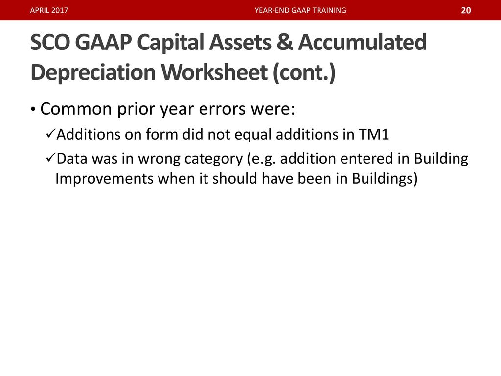 worksheet Depreciation Worksheet 2017 gaap reporting updates ppt download sco capital assets accumulated depreciation worksheet cont