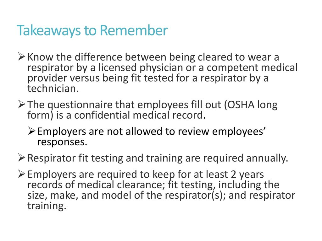 Respirator fit testing and medical clearance ppt download takeaways to remember 1betcityfo Choice Image