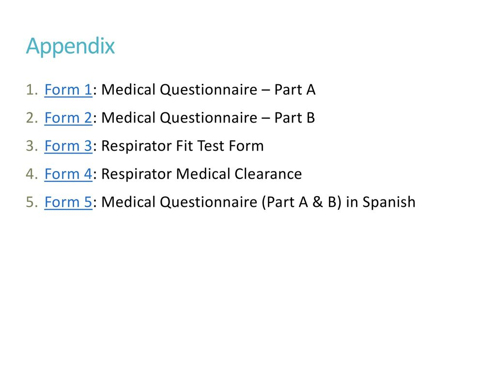 Appendix Form 1: Medical Questionnaire U2013 Part A