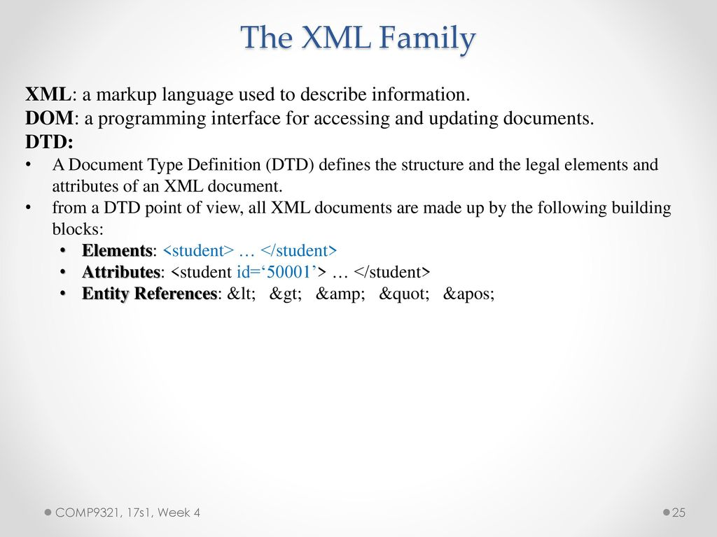 Comp9321 web application engineering semester 1 ppt download the xml family xml a markup language used to describe information baditri Images