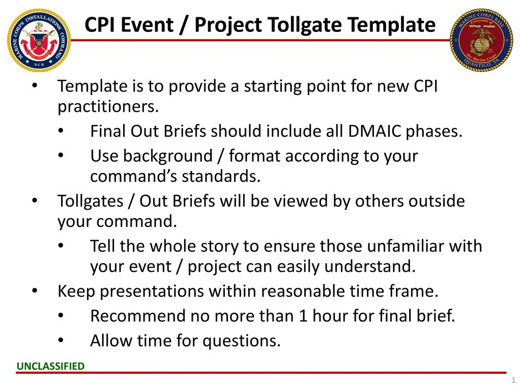Cpi Event Project Tollgate Template Ppt Video Online Download