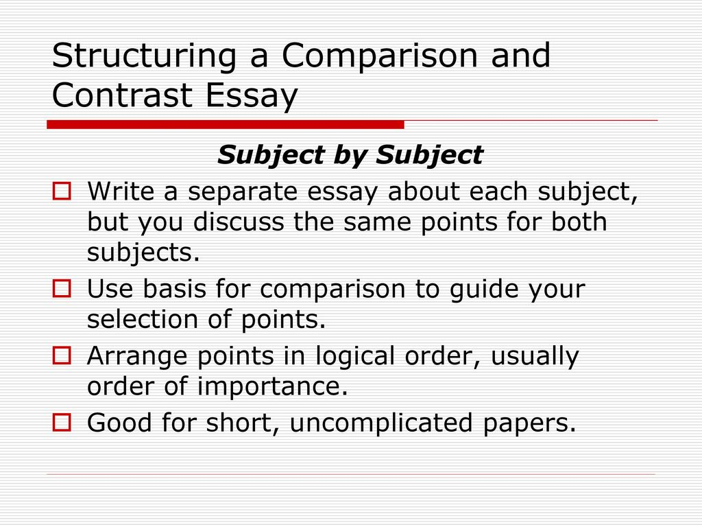 writing compare and contrast essay outline