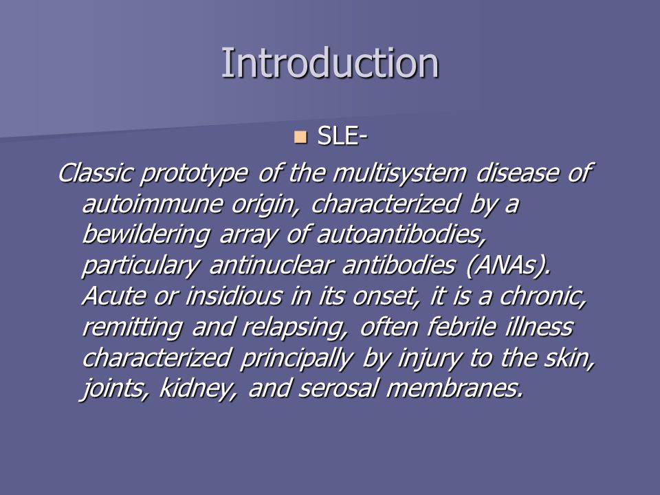 Introduction SLE-