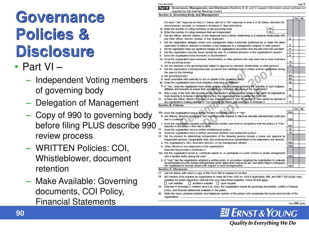 Form 990 and unrelated business income ppt download governance policies disclosure falaconquin