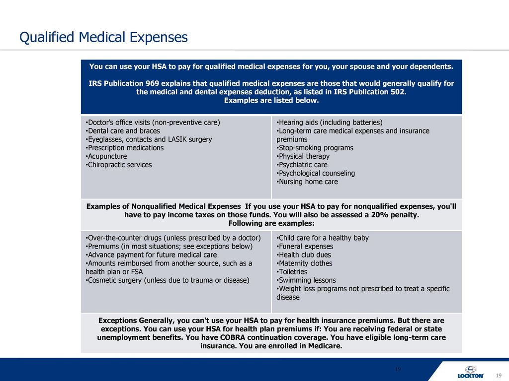 Why a high deductible health plan ppt download 19 qualified medical expenses falaconquin