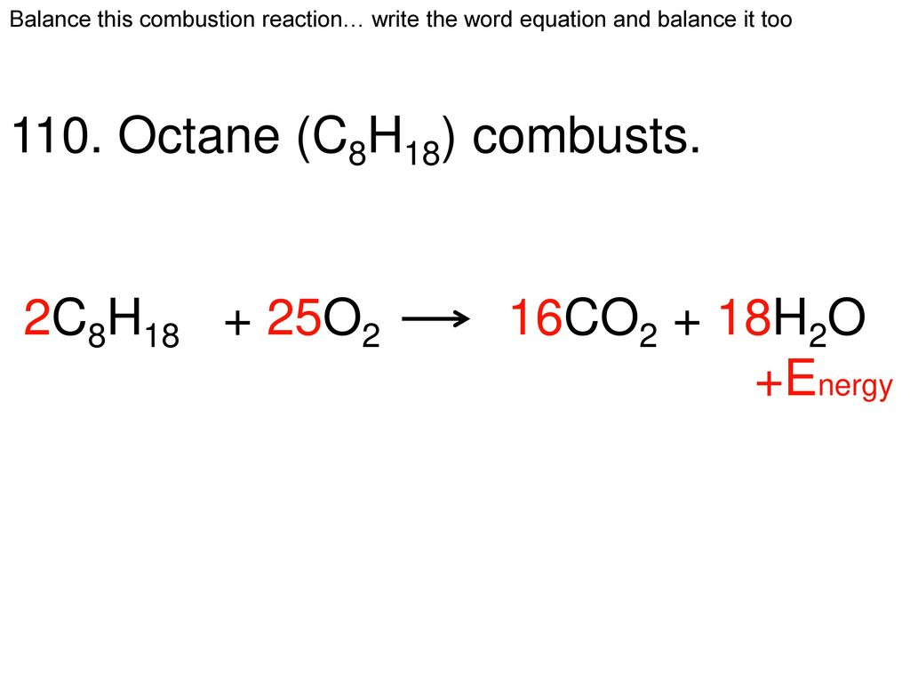 combustion of octane enthalpy