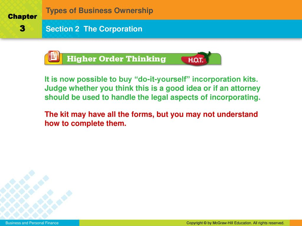 Types of business ownership ppt download 3 types of business ownership section 2 the corporation solutioingenieria Gallery
