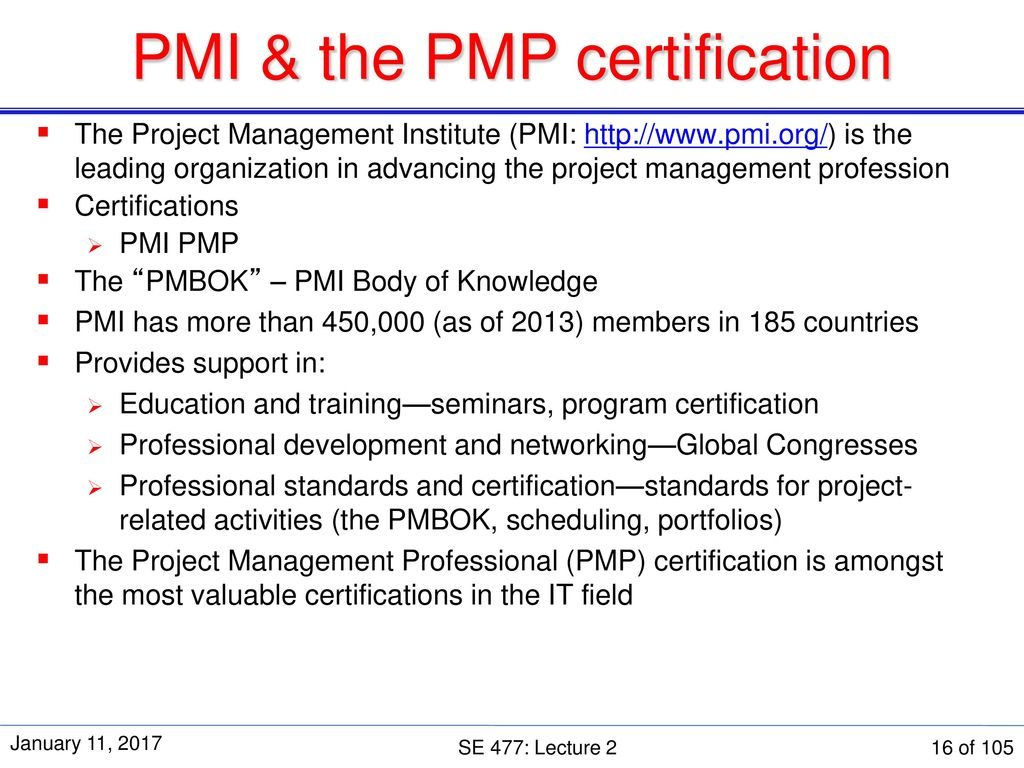 Se 477 software and systems project management ppt download pmi the pmp certification xflitez Choice Image
