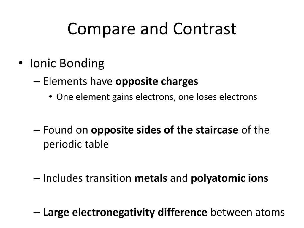 From atoms to compounds chapters 7 9 ppt download compare and contrast ionic bonding elements have opposite charges gamestrikefo Images