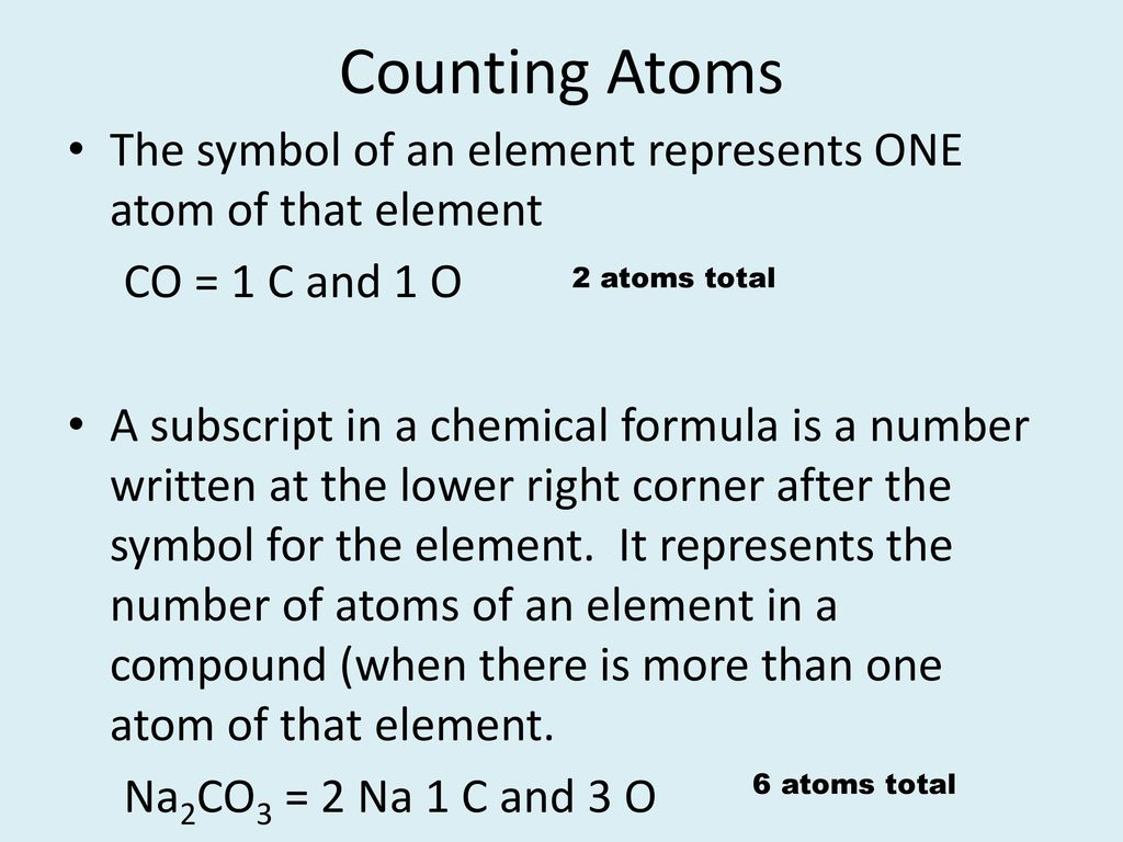 Counting atoms ppt download counting atoms the symbol of an element represents one atom of that element co buycottarizona