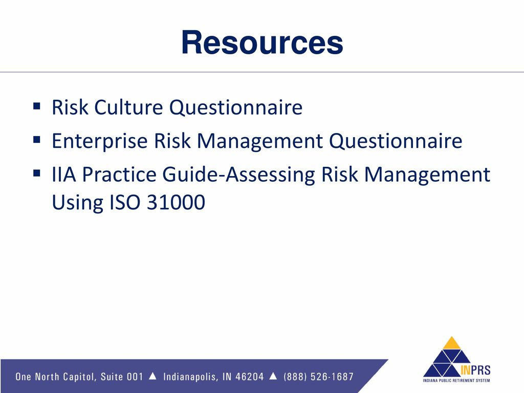 risk management questionnaire Enterprise risk management initiative, poole college of management, north carolina state university providing thought leadership, education and training on the.