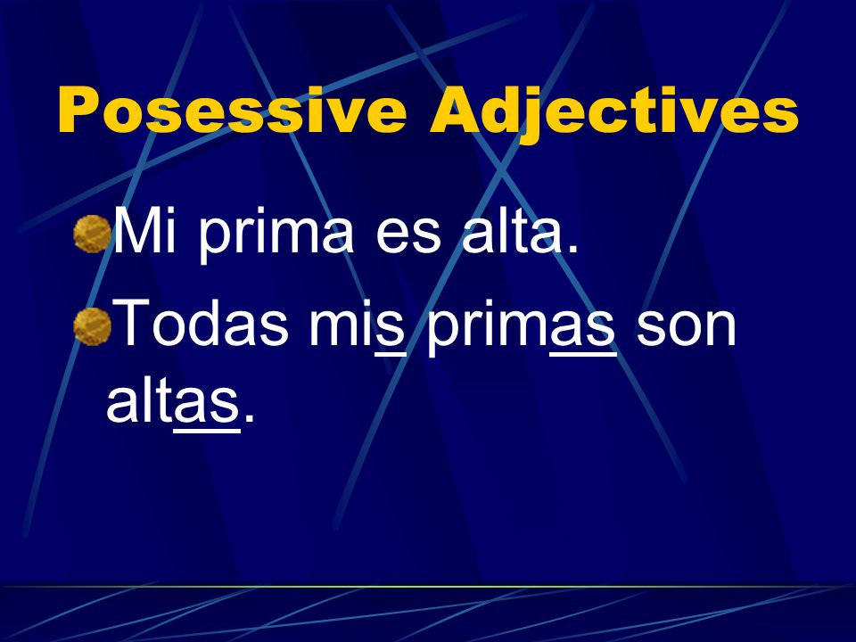 Posessive Adjectives Mi prima es alta. Todas mis primas son altas.