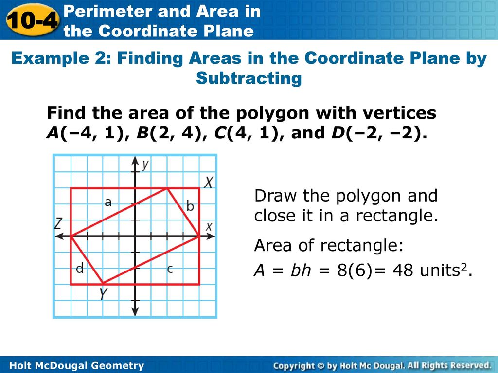 10-4 Perimeter and Area in the Coordinate Plane Warm Up ...