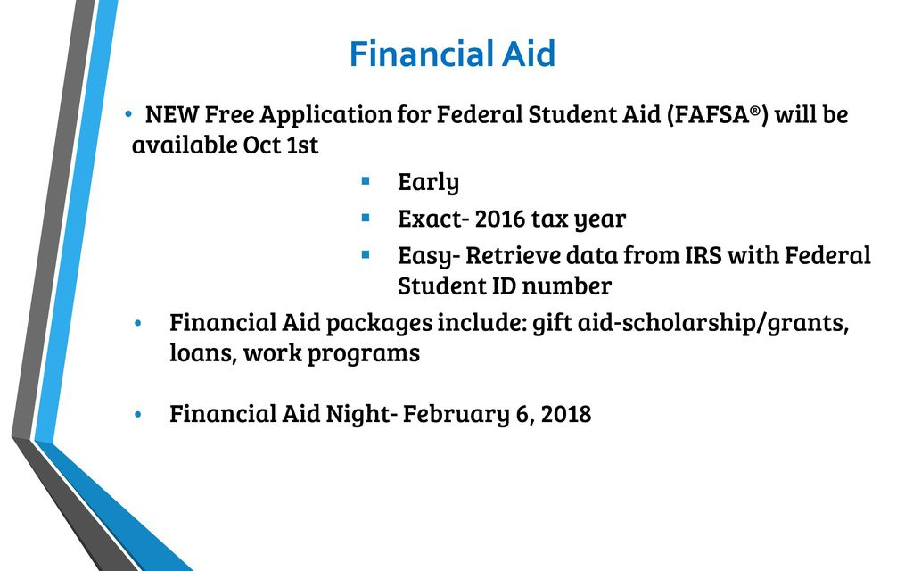 2017 fall seniorparent presentation ppt download financial aid new free application for federal student aid fafsa will be available negle Gallery