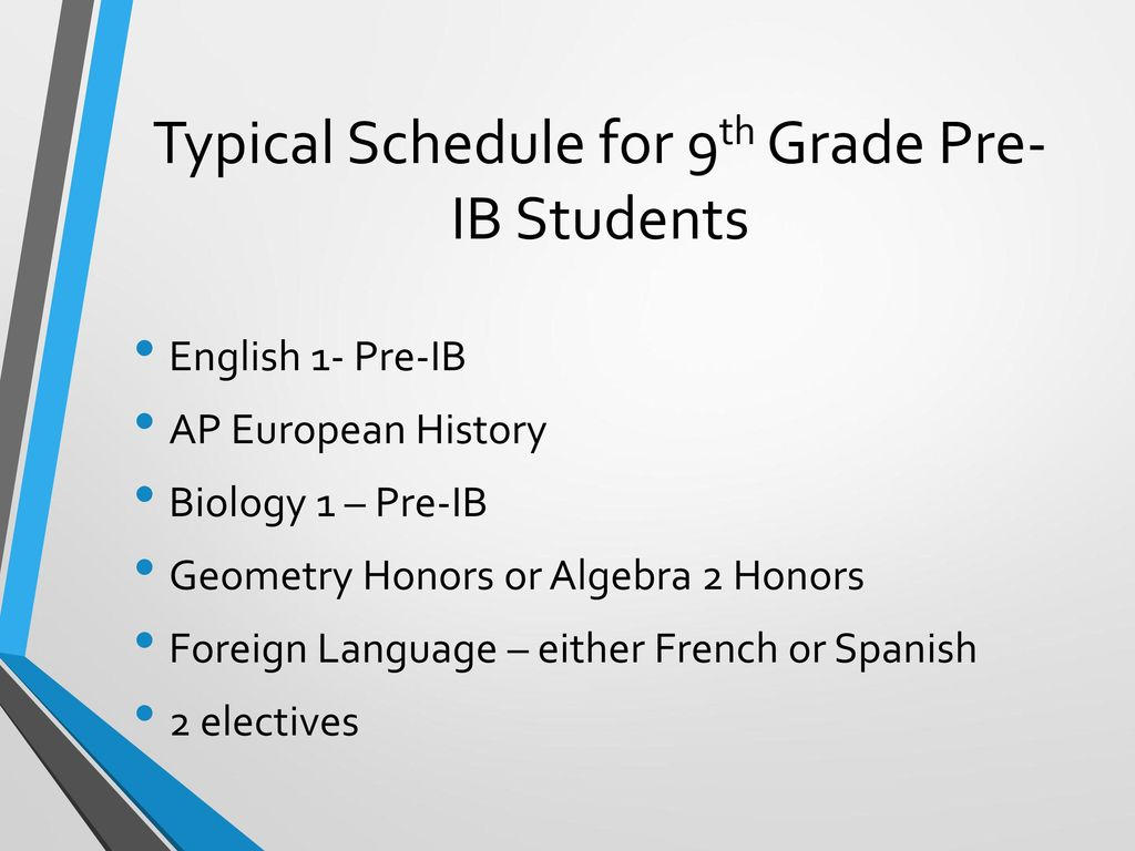 Typical Schedule for 9th Grade Pre-IB Students