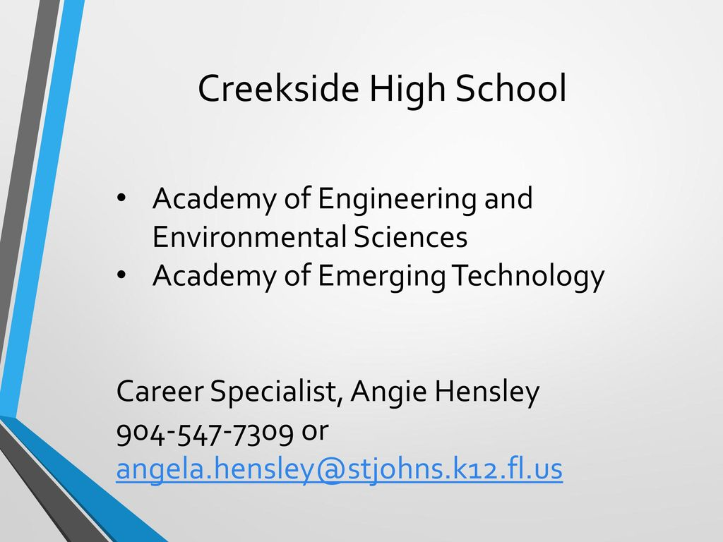 Creekside High School Academy of Engineering and Environmental Sciences. Academy of Emerging Technology.