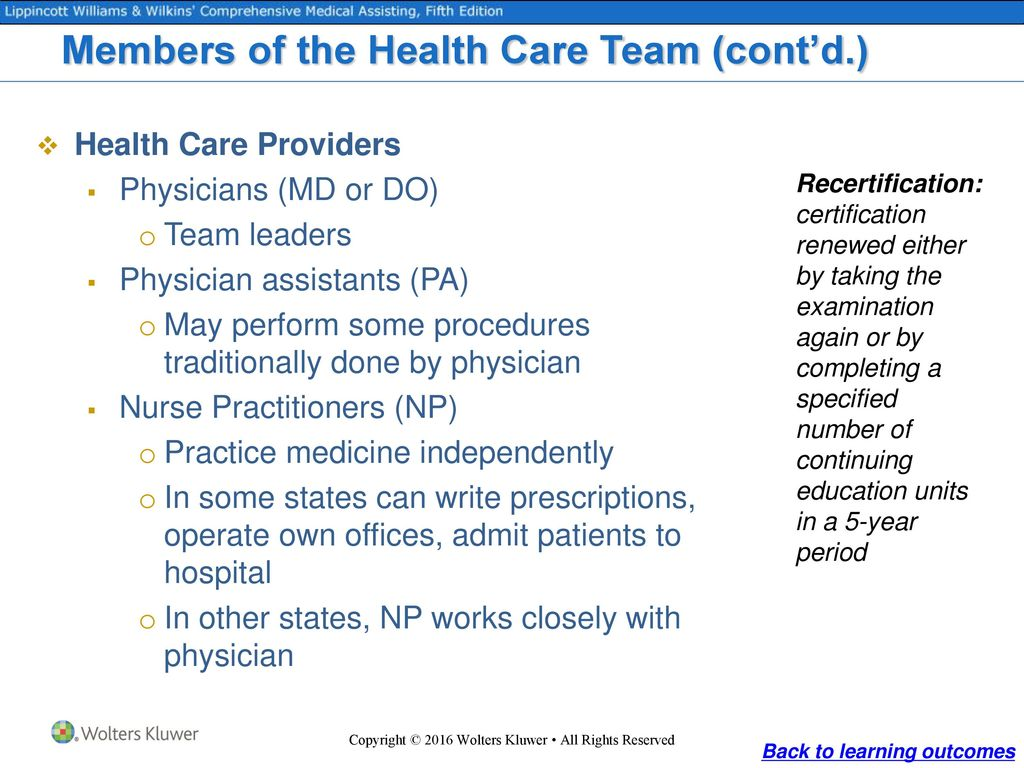 Medicine and medical assisting ppt download members of the health care team contd 1betcityfo Choice Image