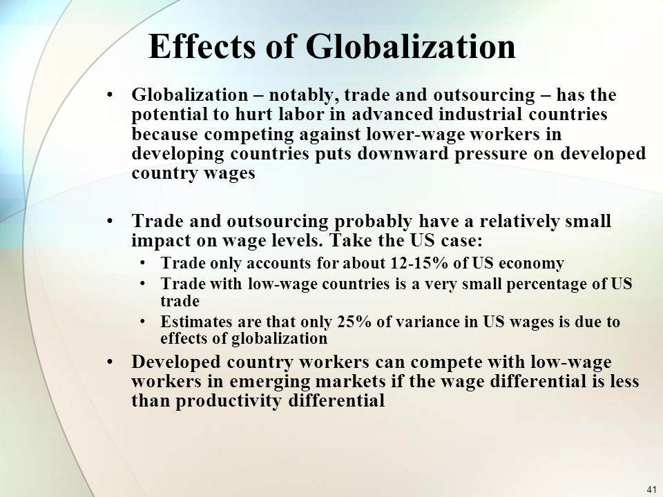 the effects of globalisation in the economy A story in the washington post said 20 years ago globalization was pitched as a strategy that would raise all boats in poor and rich countries alike the trade deficit is the single biggest job killer in our economy.