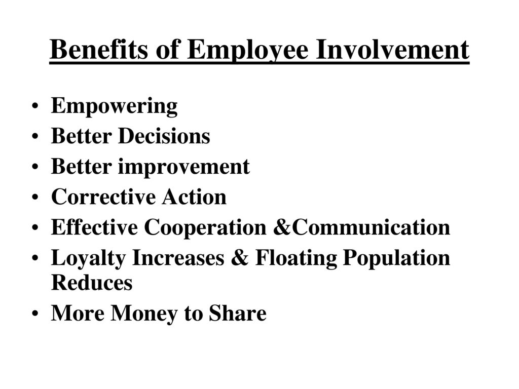 employee involvement and empowerment management essay Employee empowerment: are playing a catalytic role in promoting employee empowerment and involvement by management and fellow employees.