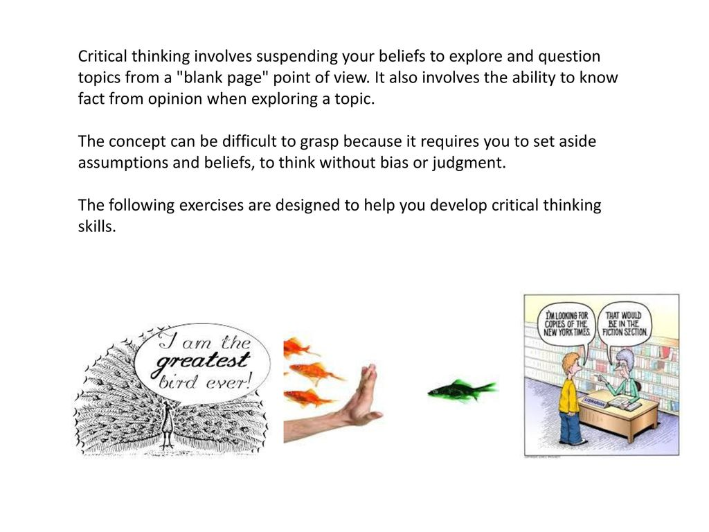 """critical thinking involves all of the following Critical thinking is defined by gmc's qep committee as """"an active, self-reflective,  and  following desired goal, objectives, and outcomes for gmc  even after  all our efforts, the qep committee agreed that faculty still did not know how   lesson and assignment specific to the content of each course that involves critical."""