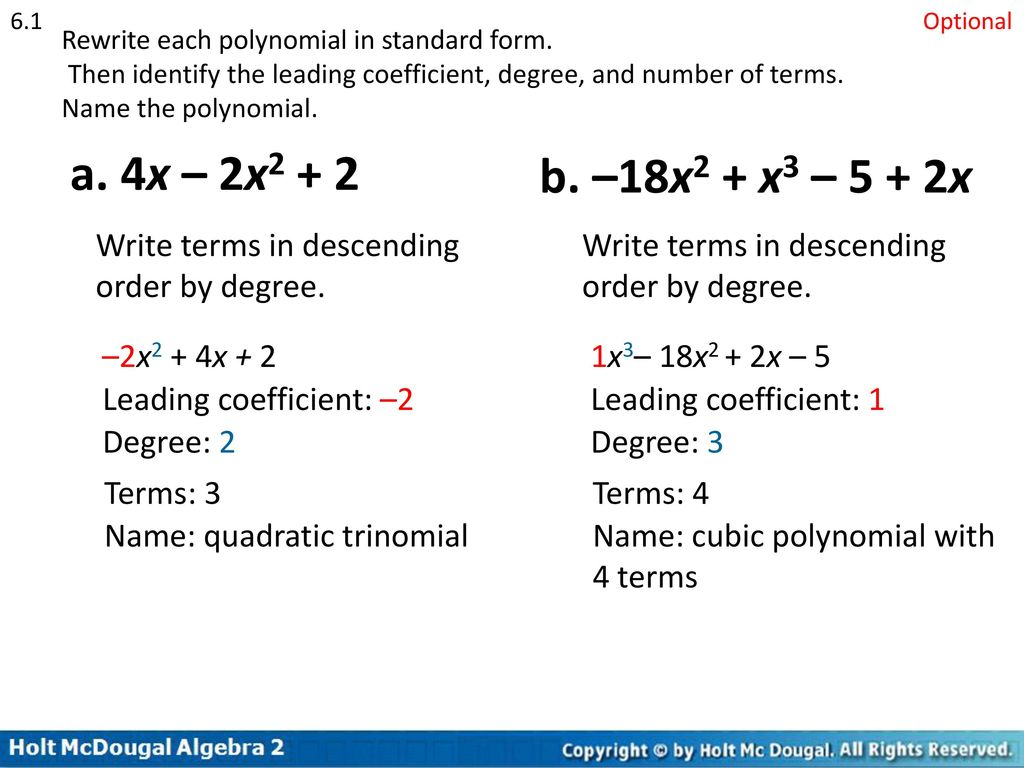 Chapter 6 polynomial functions ppt download rewrite each polynomial in standard form then identify the leading coefficient falaconquin