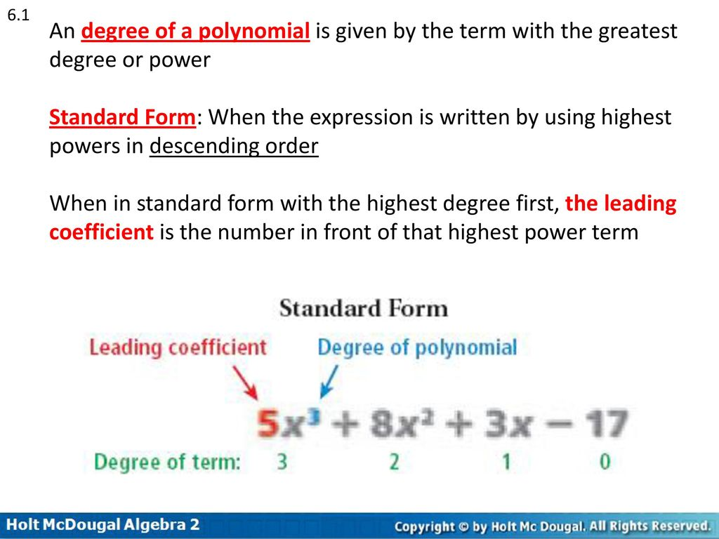 Polynomial function in standard form images standard form examples chapter 6 polynomial functions ppt download 61 an degree of a polynomial is given by the falaconquin