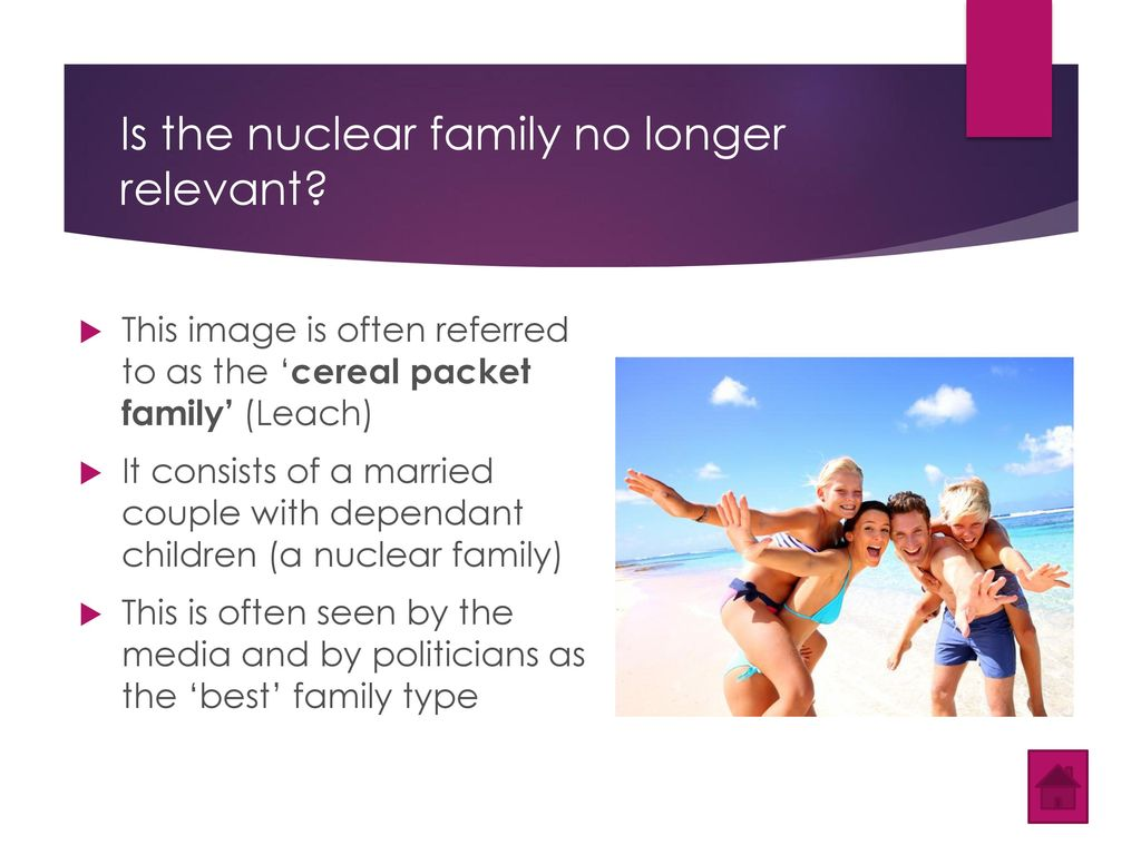 the nuclear family is no longer the norm Firstly, parsons believed that the extended family was the norm during  nuclear family became the norm, suggesting the extended family is no longer as.