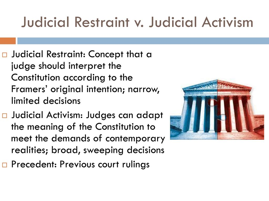 judicial activism vs judicial restraint in the united states Academic scholars of the courts speak of judicial activism and restraint,  let us examine the answer in the limited context of judicial activism versus judicial restraint  of the united states which shall be.