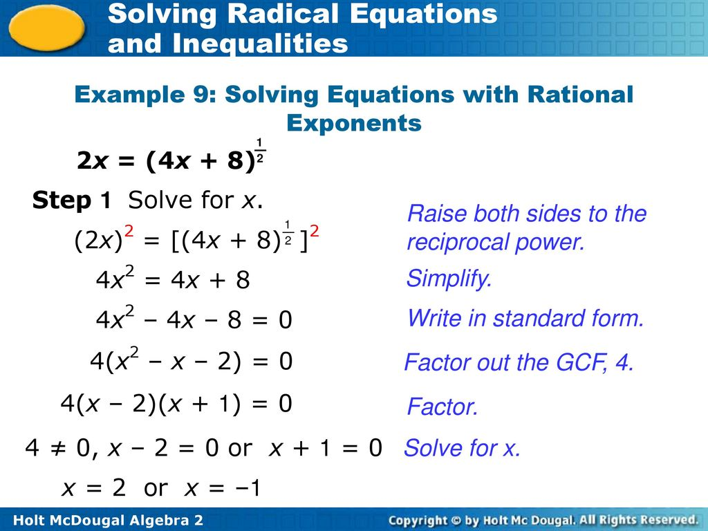 4a3 solving radical equations and inequalities ppt download example 9 solving equations with rational exponents falaconquin