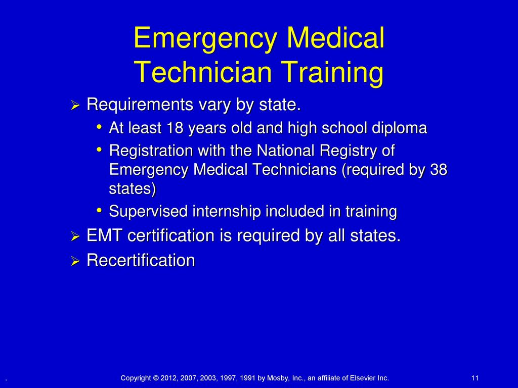 Chapter 32 emergency health careers lesson 1 ppt download 11 emergency medical technician training requirements 1betcityfo Gallery
