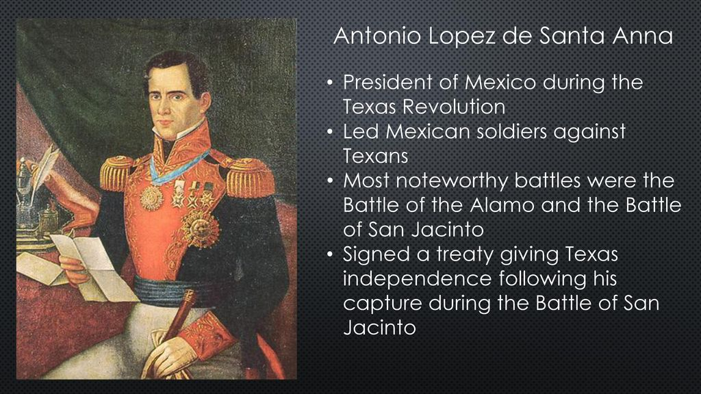 the liberation from antonio lopez de santa anna and the declaration of independence of texas The mexican president antonio lópez de santa anna responded harshly to  write the texas declaration of independence  chapter 9 road to independence 207.
