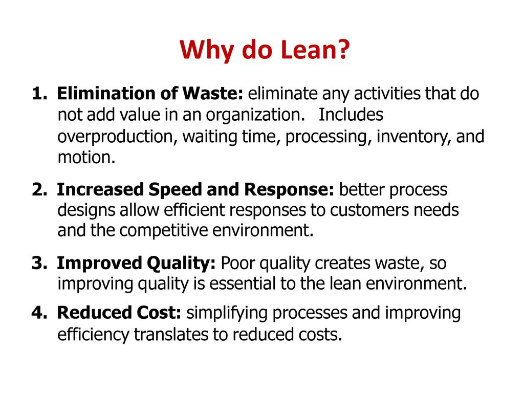 elimination of waste in a lean 8 wastes of lean an easy way i learned at a seminar to remember the wastes, they spell tim woods t – transport – moving people, products & information i – inventory – storing parts, pieces, documentation ahead of requirements m – motion – bending, turning, reaching, lifting.