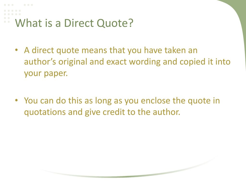Direct Quote Apa Style Workshop Ii Intext Citations And References  Ppt Download
