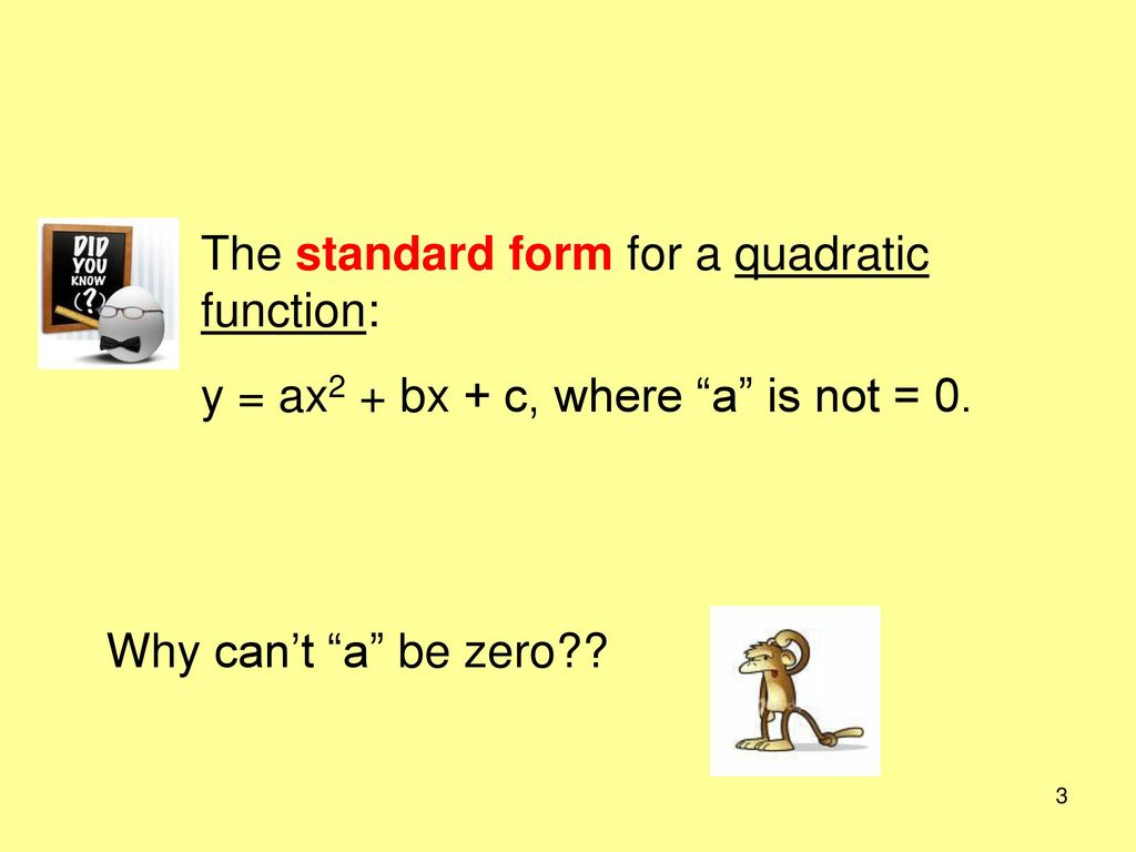 Parabolas objective understand properties of parabolas translate the standard form for a quadratic function falaconquin