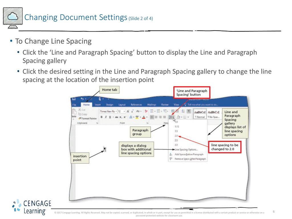 how to change line spacing in word 2017