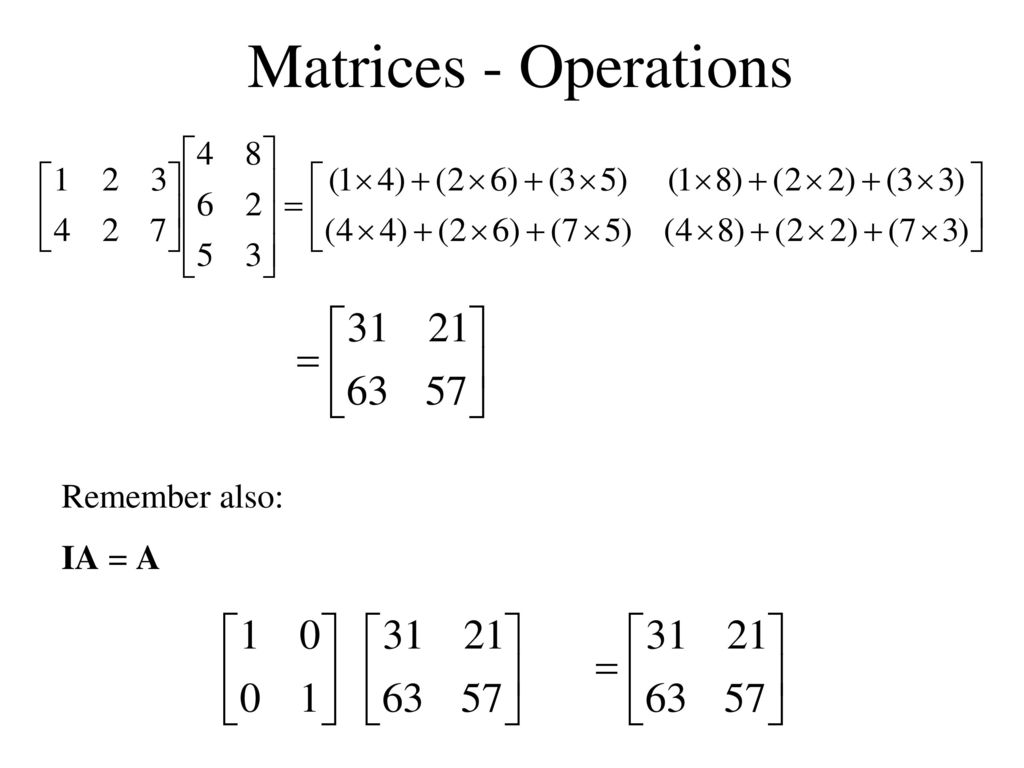 worksheet Matrix Operations Worksheet matrices introduction ppt download 27 operations remember also ia a