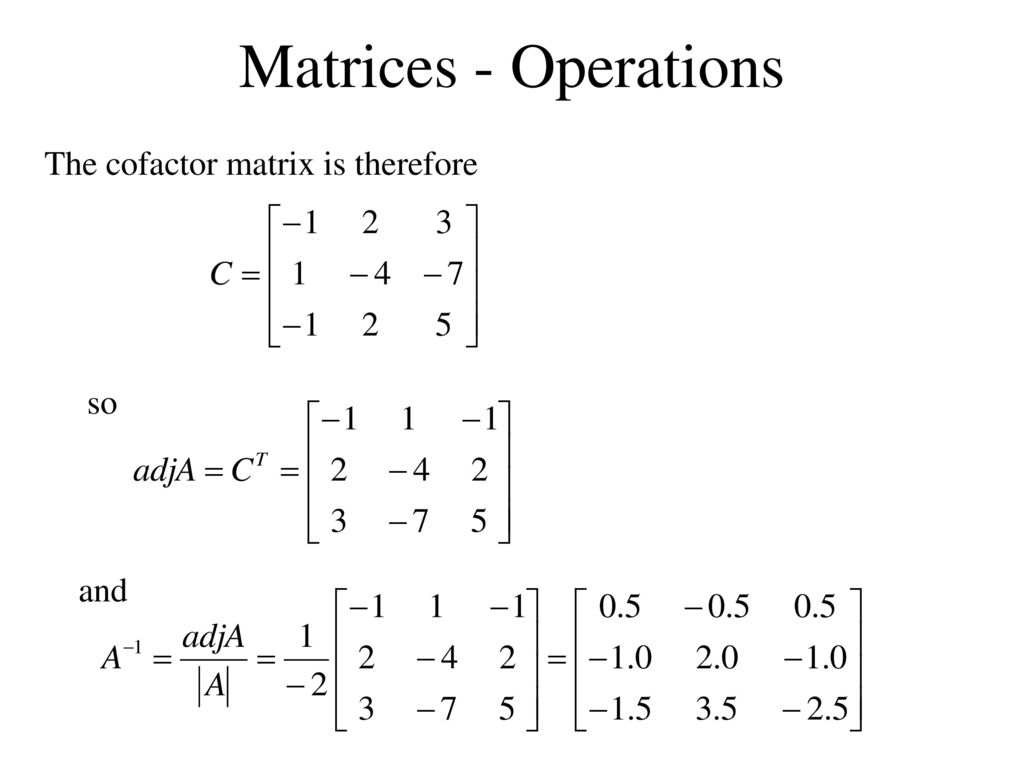 Worksheets Matrix Operations Worksheet matrices introduction ppt download 59 operations the cofactor matrix is therefore so and