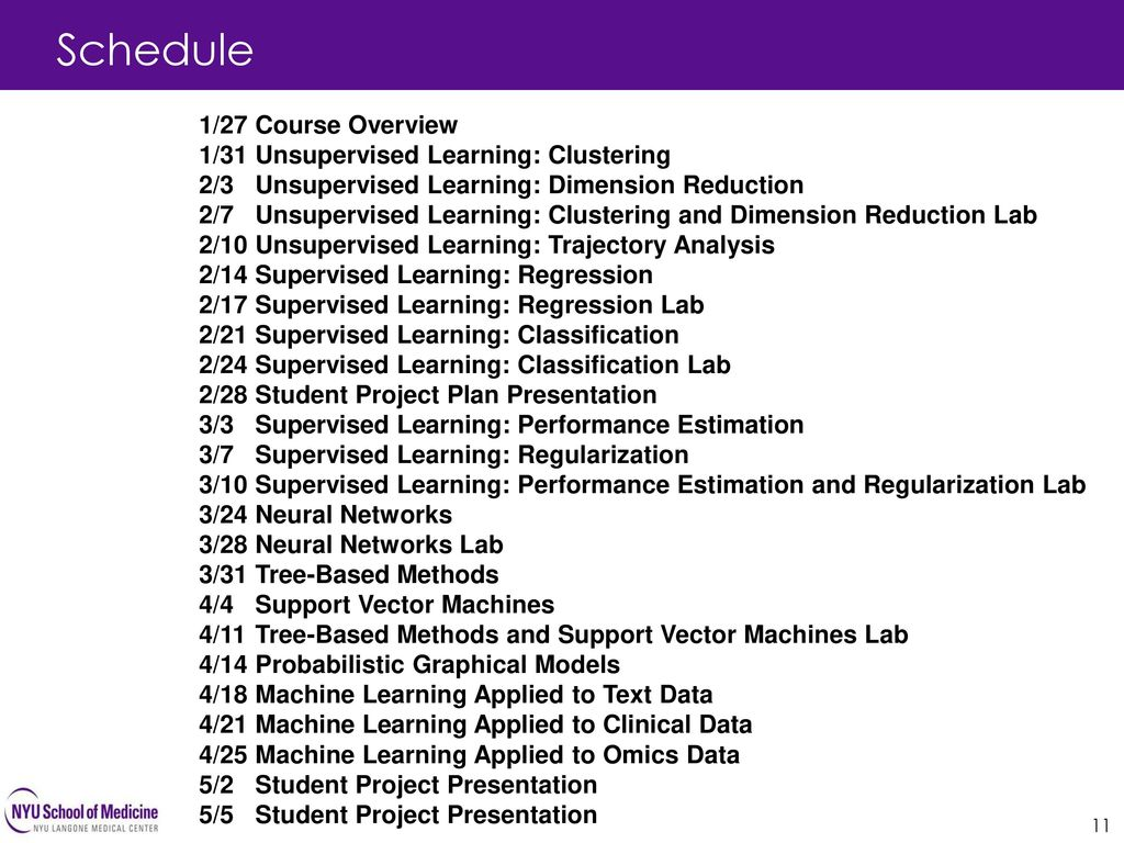 Schedule 1/27 Course Overview 1/31 Unsupervised Learning: Clustering