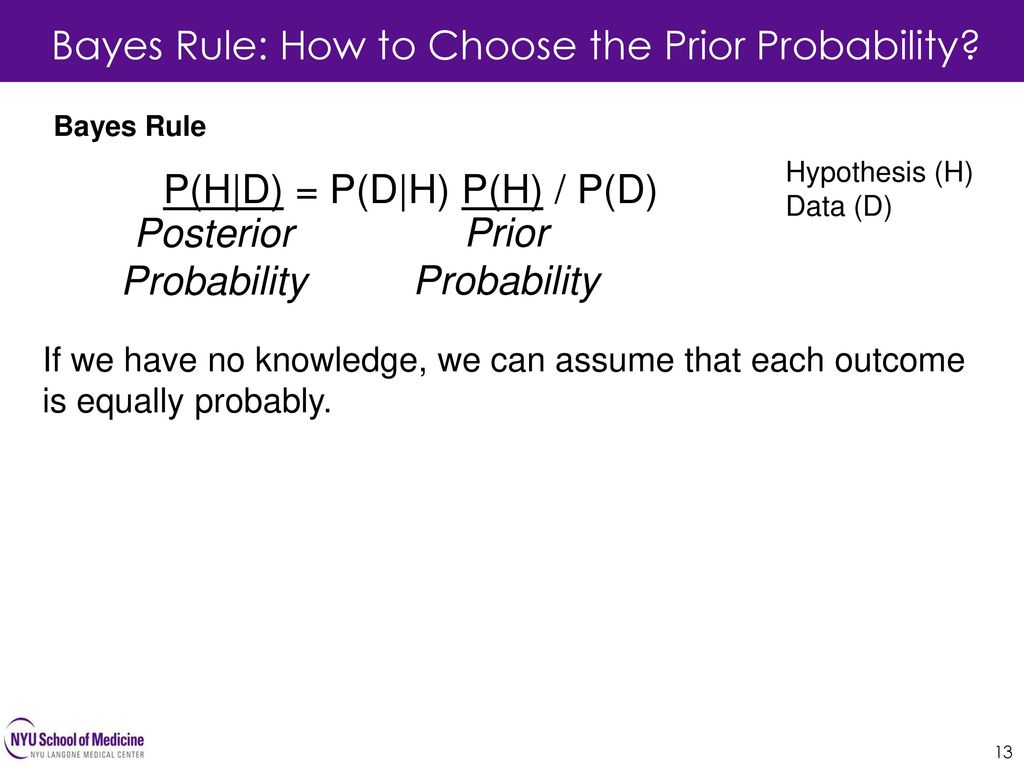 Bayes Rule: How to Choose the Prior Probability