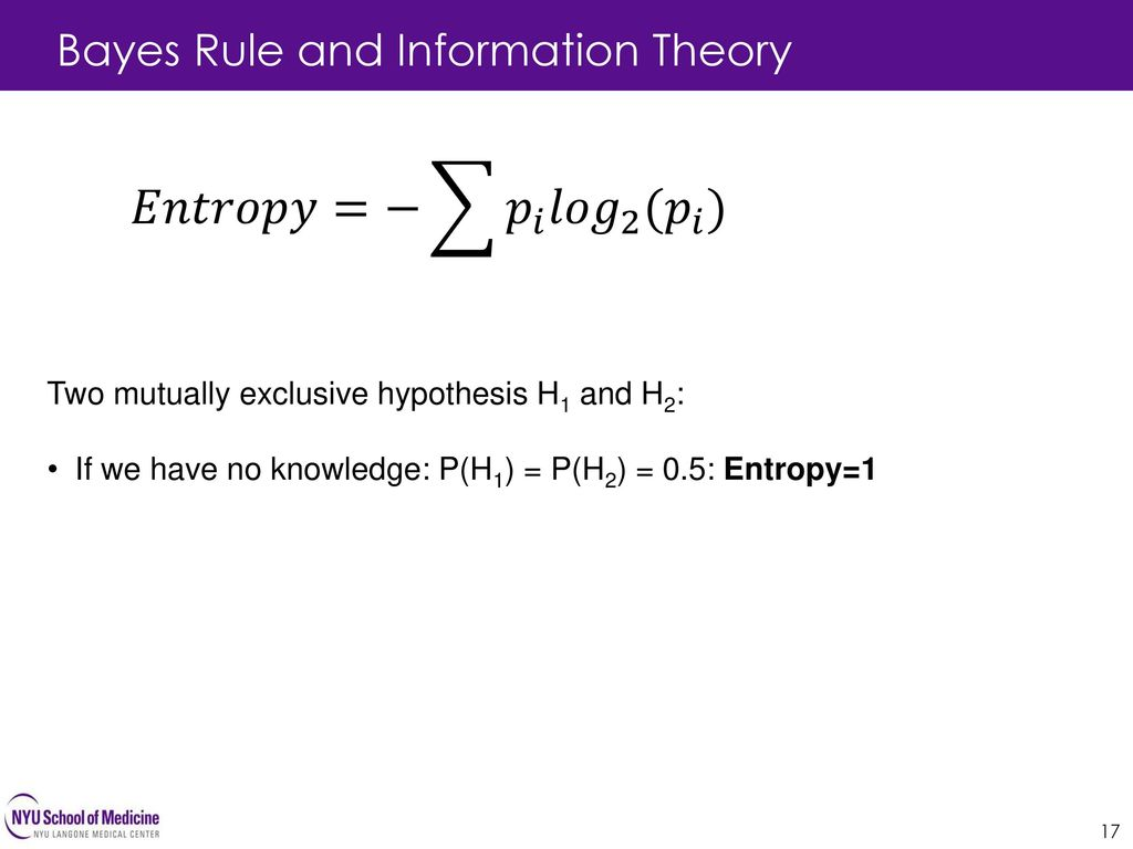 𝐸𝑛𝑡𝑟𝑜𝑝𝑦=− 𝑝 𝑖 𝑙𝑜𝑔 2 ( 𝑝 𝑖 ) Bayes Rule and Information Theory