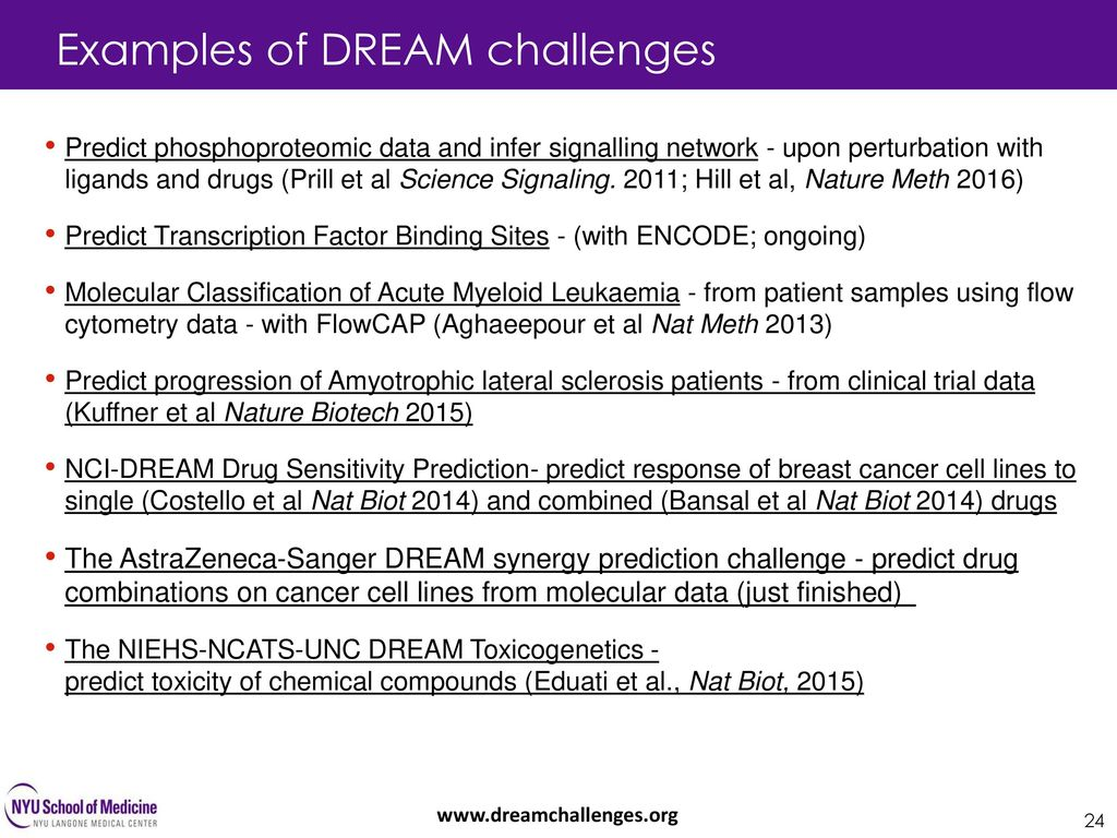 Examples of DREAM challenges